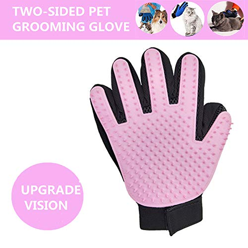 XINGYIHUA Two-Sided Pet Grooming Glove – Efficient Pet Hair Remover Mitt – Gentle Deshedding Brush Glove- Enhanced Five…