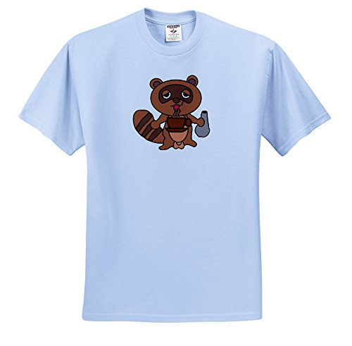 Cartoon Animal Humor - Image Of Cartoon Beaver Drinks Coffee - T-Shirts - Toddler Light-Blue-T-Shirt (2T) (TS_273379_63)