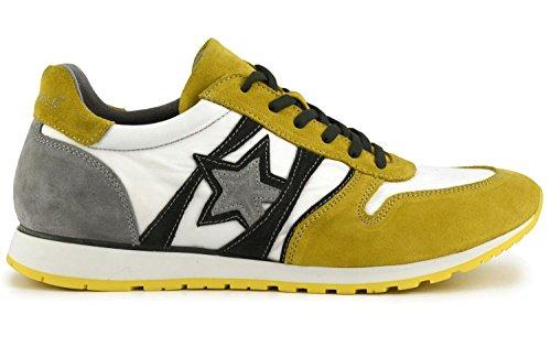 Sneaker Cafè Noir PB631 in tessuto tecnico bianco/giallo 42