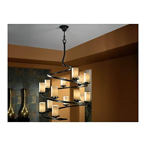 Schuller Spain 616340I4L Traditional Oxide Black Hanging Ceiling Light Pendant 14 Light Dining Room, Living Room, Hallway Opal Glass | ideas4lighting by Schuller