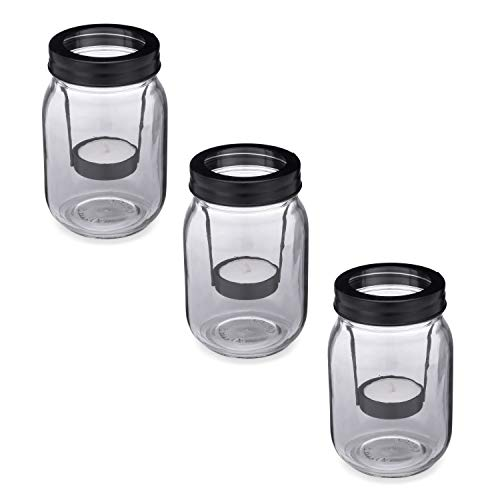 Greenbrier International Set of 3 Tealight Candle Holders, Candles Included. Three 16-Ounce Glass Jars with Inserts and Tealight Candles
