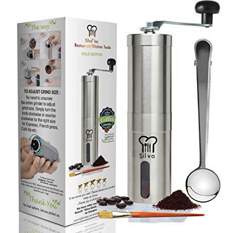 Manual Coffee Bean Grinder -Conical Hand Burr Mill -Best French Press Grinder by Silva Review