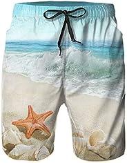 N\ A Waves Splashing On Beach Starfish and Conch Mens Swim Trunks Athletic Basketball Shorts Casual Stretch Ba
