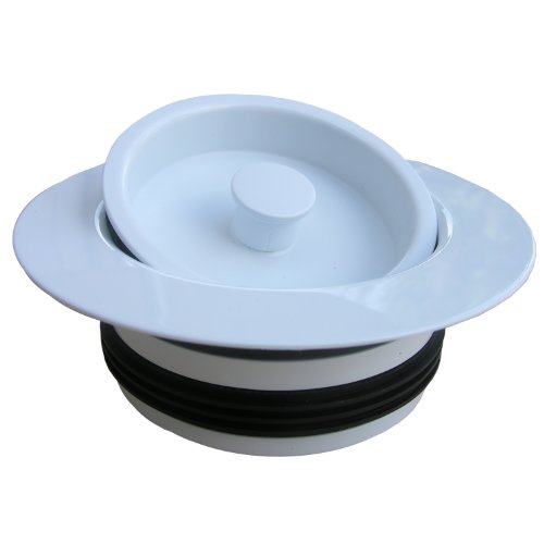Duty PVC Body Universal Disposal Stopper and Flange White Finish (White Flange)