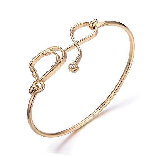 NOUMANDA Easy Open Crystal Medicine Stethoscope Bangle Bracelet for Doctor Nurse Gifts