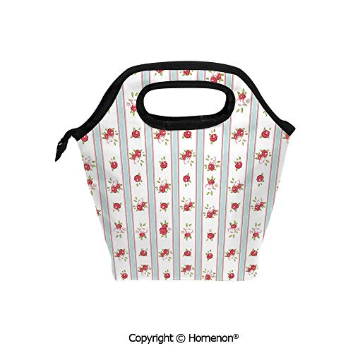 Insulated Neoprene Soft Lunch Bag Tote Handbag lunchbox,3d prited with Vertical Borders Cute Rose Blossoms Cottage Country Home,For School work Office Kids Lunch Box & Food -