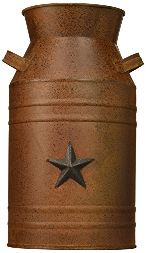 "Craft Outlet Milk Can Container with Star Attached, 10.5-Inch, Rust - Measures 10.5 "" Beautiful everyday decor accent piece Made from metal - living-room-decor, living-room, home-decor - 415CJMROIpL -"