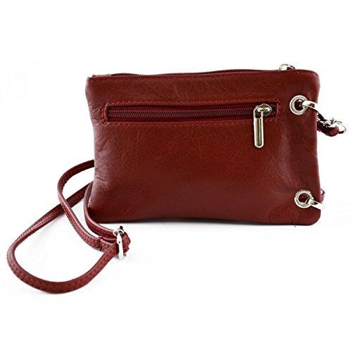 Mini Bolso Unisex Con Bolsillo Para Smartphone Color Rojo - Peleteria Echa En Italia - Bolso Hombre