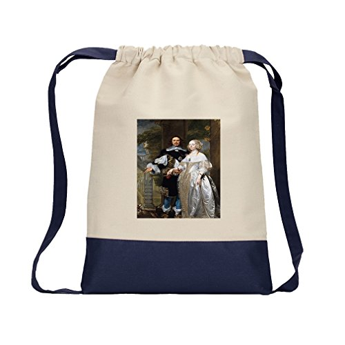 Married Couple In The Park (Coques) Canvas Backpack Color Drawstring - Navy by Style in Print