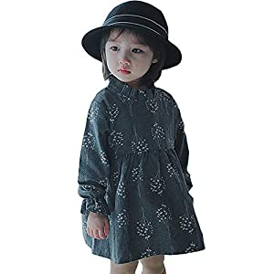 Girls Long Sleeve Dress Cotton Casual Skater Party Dress Toddler Girl Clothes 1-7 Years