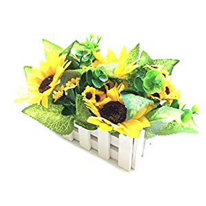 Charmly Artificial Sunflower Fake Sunflower Fence Set Artificial Flower Pot Potted Plants For Home Wedding Party Decor 8