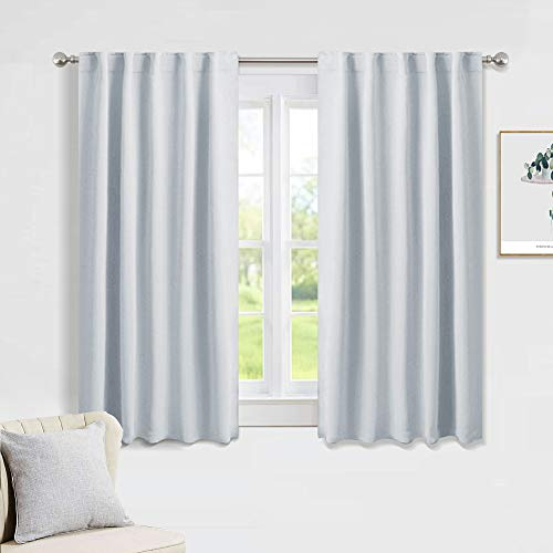 PONY DANCE Grayish White Curtains - Room Darkening Window Drapes for Kitchen/Bedroom with Back Tab/Rod Pocket Top Home Decoration, 42 inch Wide by 54 inch Long, 2 PCs