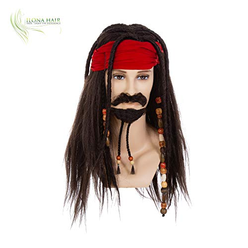 Pirate Jack Sparrow Wig w/Bandana Dreadlock DLX Exact No Human Hair Wig Costume
