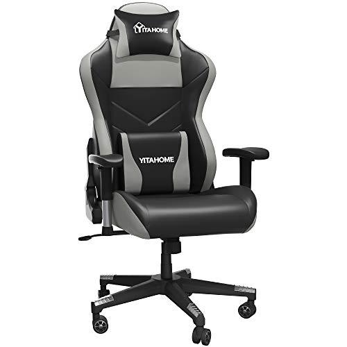 YITAHOME Silla de masaje para juegos, grande y alta, 350 libras, resistente, ergonómica, para videojuegos, silla de oficina con respaldo alto, estilo de carrera, con reposacabezas y soporte lumbar