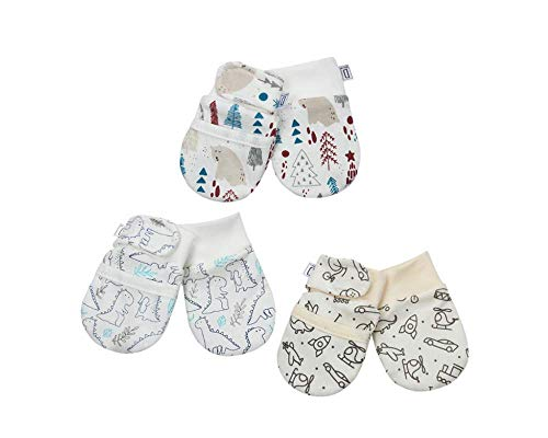 Darlyng & Co.'s Anti-Scratch Newborn Baby Mittens (0-6 months) Unisex -STAYS ON W/hook & loop closure- 3 pairs (Neutral- ()