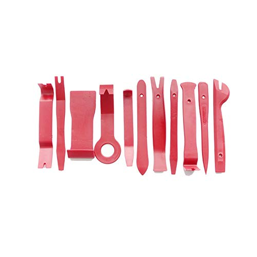 Ensemble Panneau Universel enl/èvement Outil de Levier Ouvert 12pcs kit Voiture Dash Porte autoradio Garniture Garniture kit de Voiture kit dinstallation st/ér/éo Rouge M 12pcs