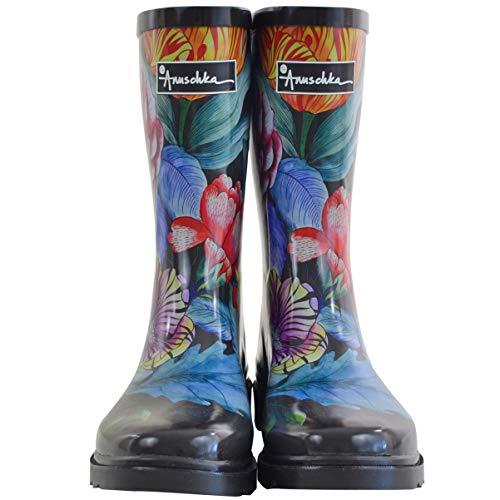 Anuschka Women's Mid-Calf Rain Boot | Handmade Waterproof Natural Rubber | Memory Foam Insole | Vintage Bouquet | 10 M US