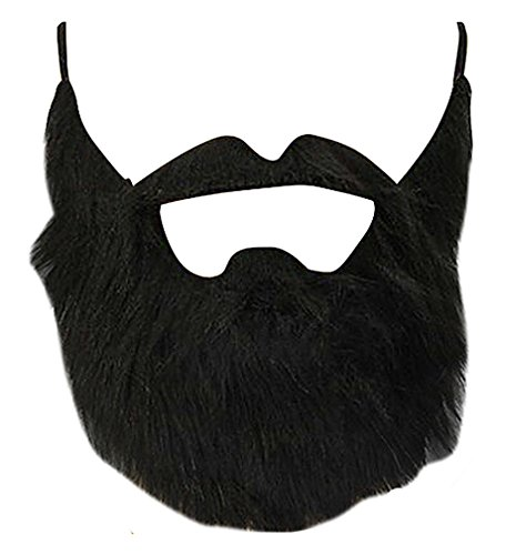 Maze Fun Pitch Black Flannel Faux Beard & Mustache For Pirates Elves Dwarves, 1- One Size (Homemade Costumes Of Pirates)