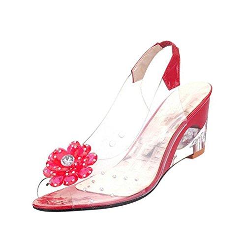 Donalworld Sommer Gelé Sandaler Peep Toe Kile Pumpe Floral Fest Sandal Red
