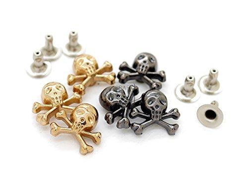 CRAFTMEmore Gold or Gunmetal Skull Crossbone 3D Rapid Rivet Studs for Leather Bags Jacket Embellishment 1/2