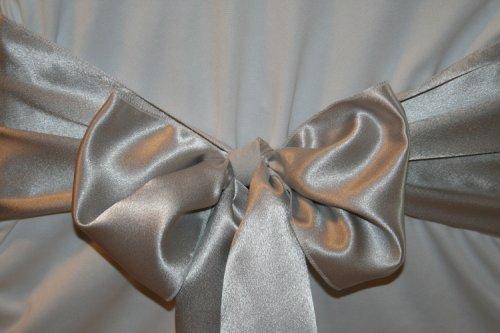 Silver Satin Wedding Chair Sash Bows (Set of 10)