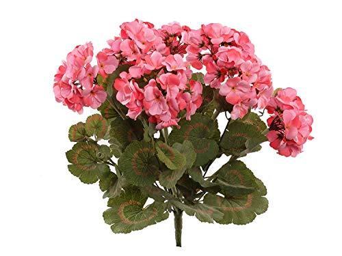 Larksilk Pink Artificial Geranium Flower Bush | UV Resistant Decorative Silk Artificial Plant Perfect for Outdoors or Indoor Décor, 18-Inch Tall,