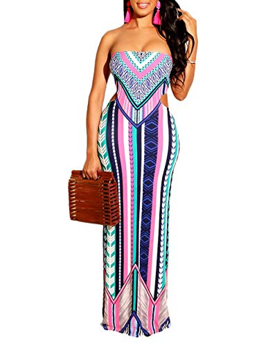 African Print Dresses for Women - Summer Sexy Floral Cut Out Tube Strapless Beach Bodycon Long Maxi Dress Rose Red XL