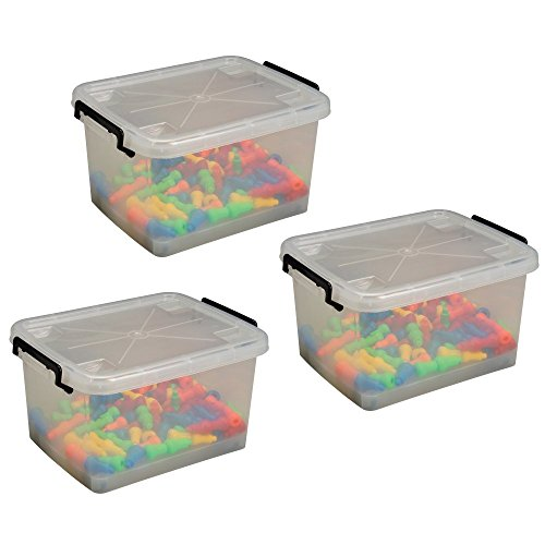 Constructive Playthings CPX-1242 Set of 3 clear Plastic Tubs with Locking Lids, Grade: Kindergarten to 3 (Wheel Tub Set)