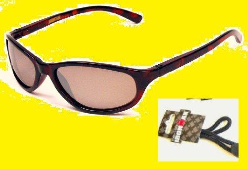 Foster Grant Wayfarer Style Tortoise Sunglasses Polarized with Ironman Eyeglass Strap