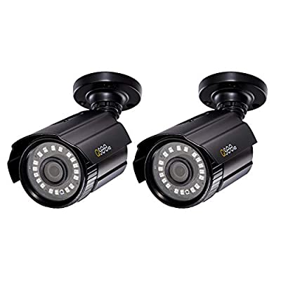 Q-See Home Security Cameras, 1080P Analog HD Add-On Bullet Surveillance Camera 2-Pack, Night Vision, BNC, Indoor and Outdoor, Black (QTH8053BA-2) from Digital Peripheral Solutions