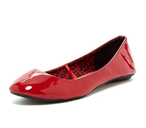 Charles Albert Kvinna Kobra Patent Slip-on Balett Platta Röda