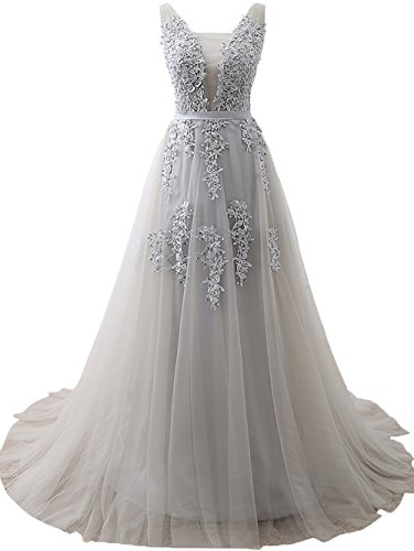 Beaded Empire Waist Prom Dress - Elegent Women Sexy Vintage Party Wedding Bridesmaid Formal Cocktail Dress Grey,US2