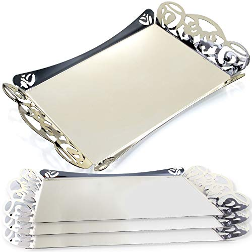 Maro Megastore (Pack of 4) 16.5-Inch x 10.6-Inch Rectangular Chrome Plated Serving Tray with Handle Floral Design Decorative Wedding Birthday Buffet Party Dessert Food Snack Platter 2320 M Ts-133