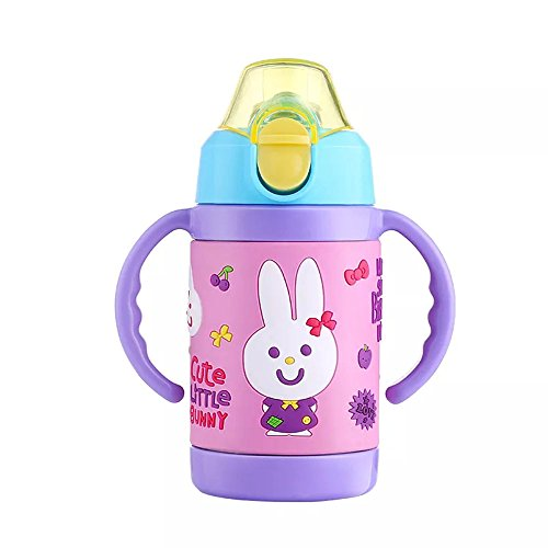 TENTA Kitchen Vacuum Insulated 18/8 Stainless Steel 9 Ounce Baby Feeding Bottle Nipple Duckbill Nozzle 3 in 1 Multi-functional Kids Mini Water Bottle Children Water Mug (Duck Baby Bottle)