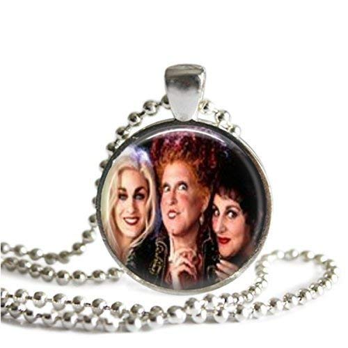 Hocus Pocus Sanderson Sisters 1 Inch Silver Plated Picture Pendant 24 Inch Necklace -