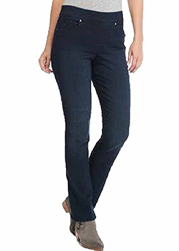 Gloria Vanderbilt Avery Womens Pull-On Straight Leg Mid-Rise Jeans, Ink Wash (6)
