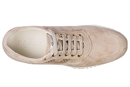 Hogan Vrouwen Schoenen Sneakers Dames Suède Schoenen Sneakers Interactieve Beige
