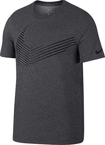 Nike Men's Dry Linear Swoosh Graphic T-Shirt (Charcoal Heathr, Medium)