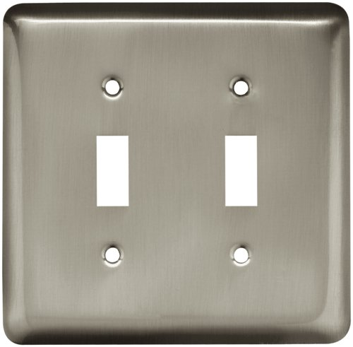 Satin Double Nickel Switch (Brainerd 64093 Stamped Steel Round Double Toggle Switch Wall Plate/Switch Plate/Cover, Satin Nickel)