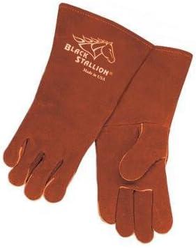 Black Stallion 101A Premium Cowhide Stick Welding Gloves 16 Length MADE IN USA Medium
