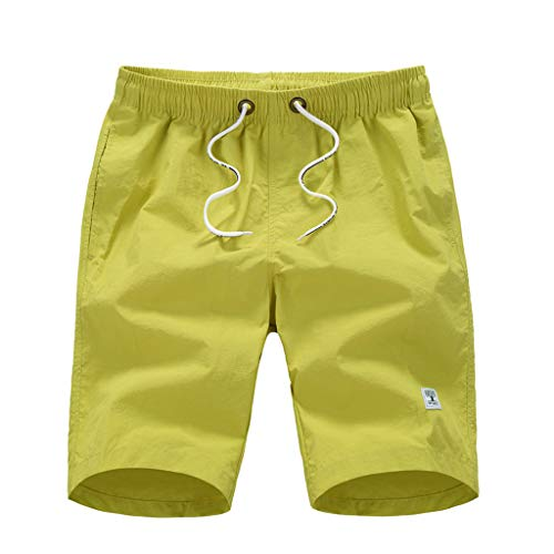 ANJUNIE Men's Casual Lightweight Beach Pure Color Pocket Surfing Swimming Loose Short Pants(Yellow,XXXL)