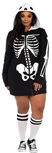 Leg Avenue Women's Cozy Skeleton Hoodie Adult Fancy Dress Halloween Plus Size Costume, 3X/4X (22-26) ()