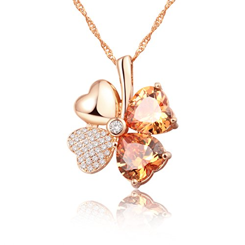 Emosa Lucky Four Leaf Clover Necklace with Charming Heart Shaped Swarovski Elements Crystal Lucky Pendant Necklace Rose Gold Plated Champagne Stone
