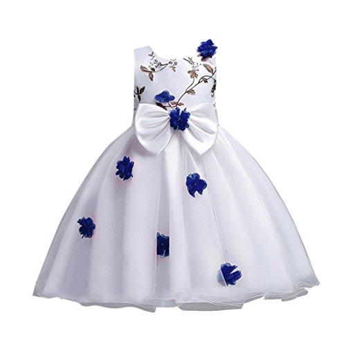 Kstare Kids Baby Girls Sleeveless Floral Bowknot Party Wedding Bridesmaid Pageant Princess Dress (8T, Dark Blue)