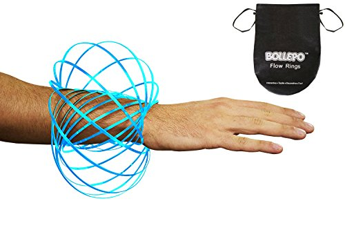BOLLEPO Flow Ring Kinetic 3D Spring Toy Sculpture Ring Game Toy for Kids Boys and Girl, Rave Accessories, Festival Accessories (Blue) ()