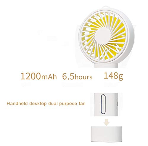 FuriGer Handheld Personal Fan, Portable Mini Hand Fan with USB Rechargeable 3 Speed Adjustable Air Cooler Rotation Cooling Fan, Desk Fan Electric for Outdoor Sport Household Traveling Camping-White by FuriGer (Image #2)