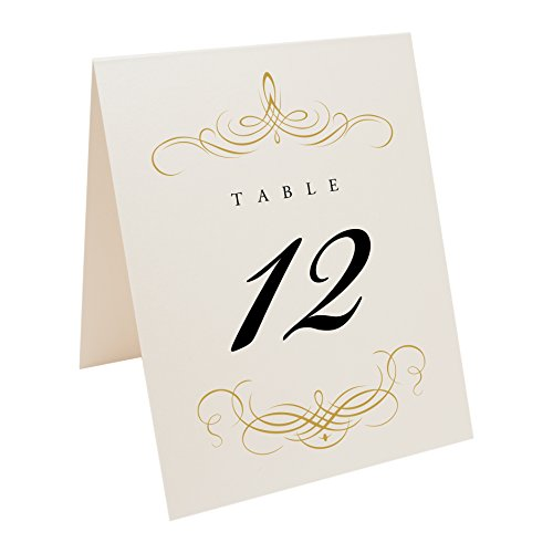 Documents and Designs Decadent Flourish Table Numbers (Select Color/Quantity), Champagne, Gold, 1-30 ()