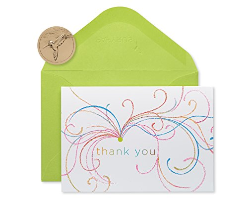 Papyrus Swirl Thank You Boxed Blank Note Cards with Glitter, 14-Count - Premium Boxed Note