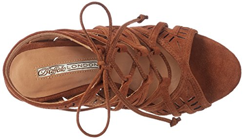 Buffalo London Women's 16s20-5 Kid Suede Wedge Heels Sandals Brown (Tan 01) fI4FF