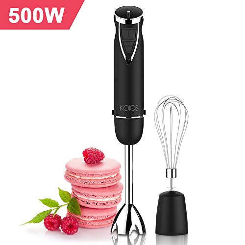 KOIOS Ultra-Stick 500 Watt 6-Speed Powerful Immersion Multi-Purpose Hand Blender Includes Whisk Attachment